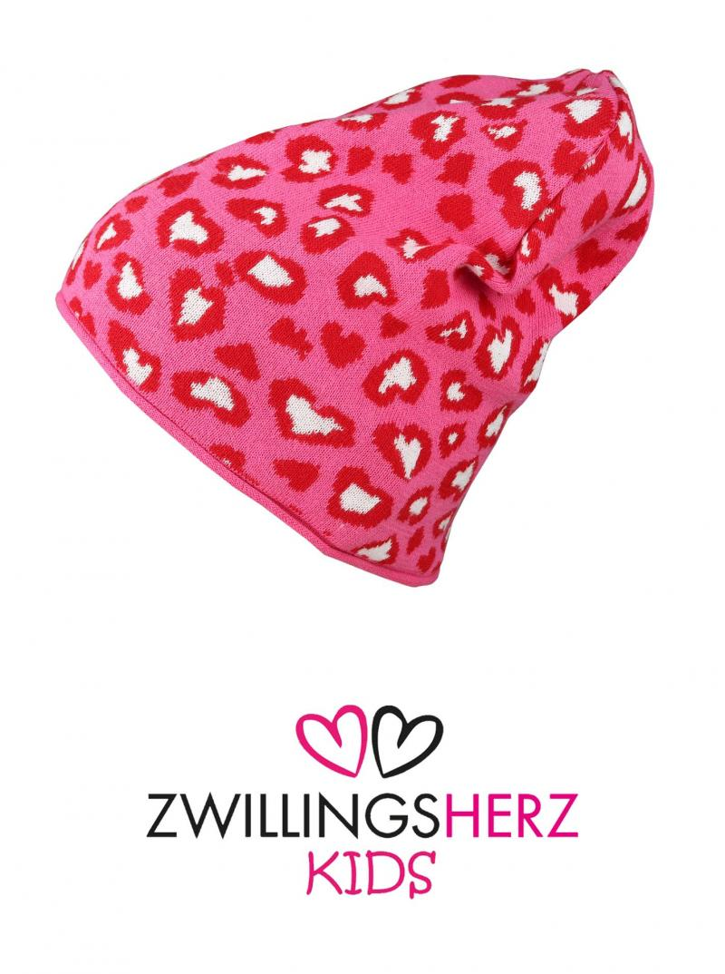 Zwillingsherz Kids Mütze Beanie Bio Baumwolle pink corall rot Herzen Leo