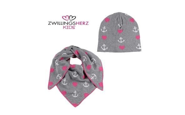 Zwillingsherz Kids Set Mütze und Dreieckstuch Bio Baumwolle grau pink weiß Anker Herzen